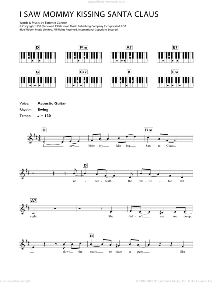 I Saw Mommy Kissing Santa Claus sheet music for piano solo (chords, lyrics, melody) by Tommie Connor, intermediate piano (chords, lyrics, melody)