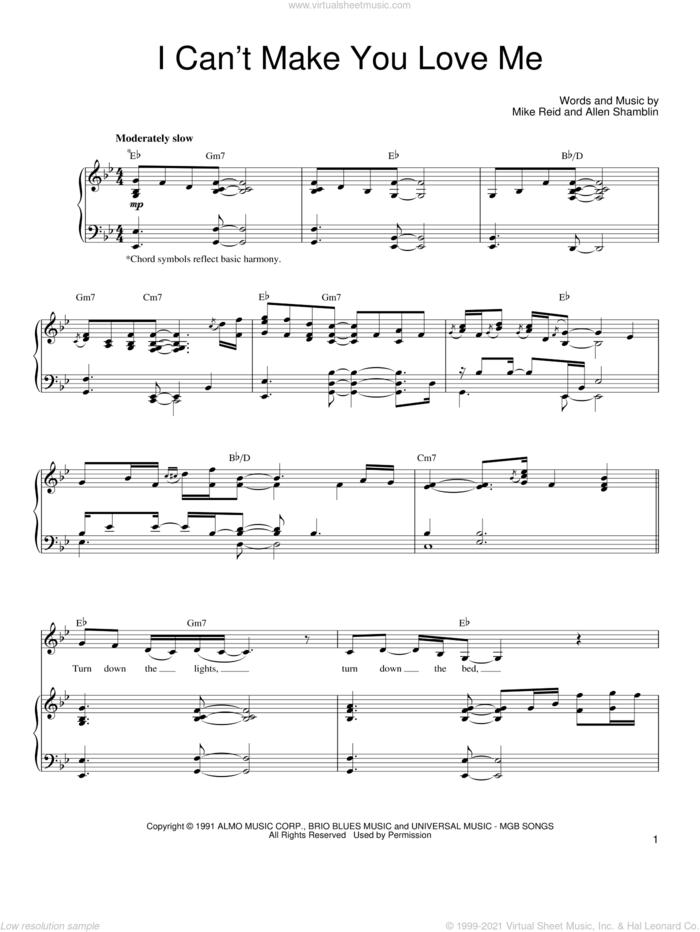 I Can't Make You Love Me sheet music for voice, piano or guitar by Bonnie Raitt, George Michael, Allen Shamblin and Mike Reid, intermediate skill level