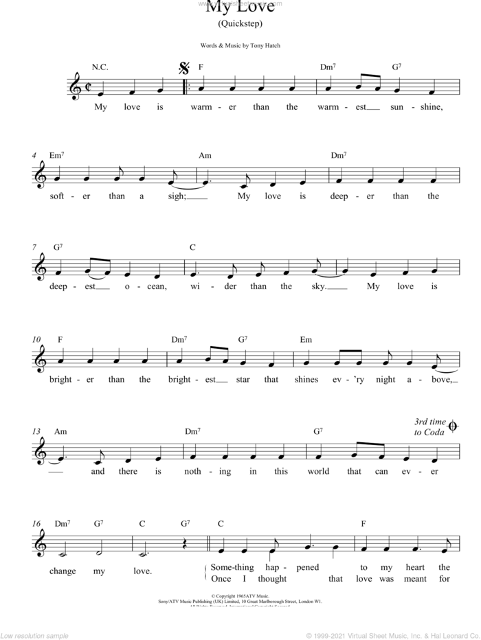My Love sheet music for voice and other instruments (fake book) by Petula Clark and Tony Hatch, intermediate skill level