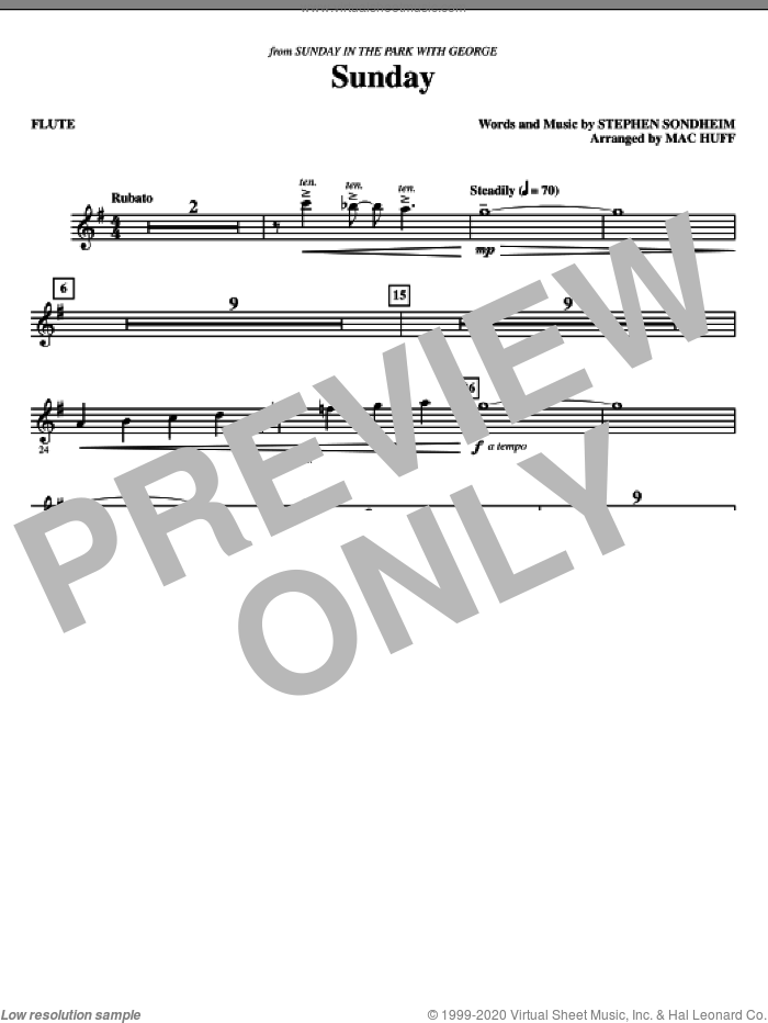 Sunday (complete set of parts) sheet music for orchestra/band (chamber ensemble) by Stephen Sondheim and Mac Huff, intermediate skill level