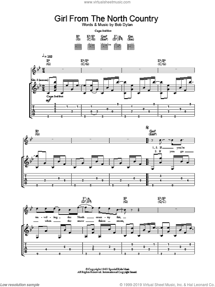Girl From The North Country sheet music for guitar (tablature) by Bob Dylan, intermediate skill level