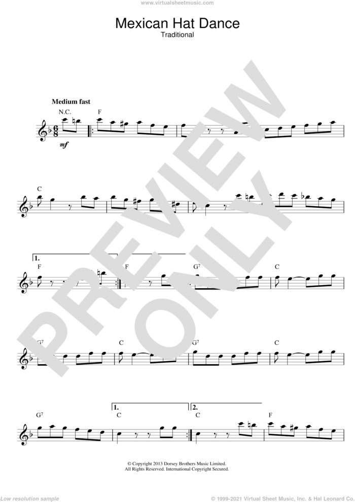 Mexican Hat Dance sheet music for voice and other instruments (fake book), intermediate skill level