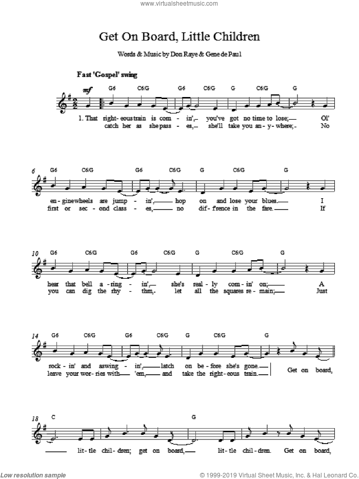 Get On Board, Little Children (Top Line) sheet music for voice and other instruments (fake book) by Raye & DePaul, DE PAUL and Don Raye, intermediate skill level