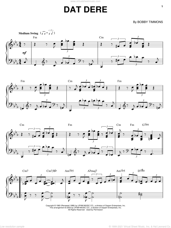 Dat Dere sheet music for piano solo by Cannonball Adderley, Bobby Timmons and Oscar Brown, Jr., intermediate skill level