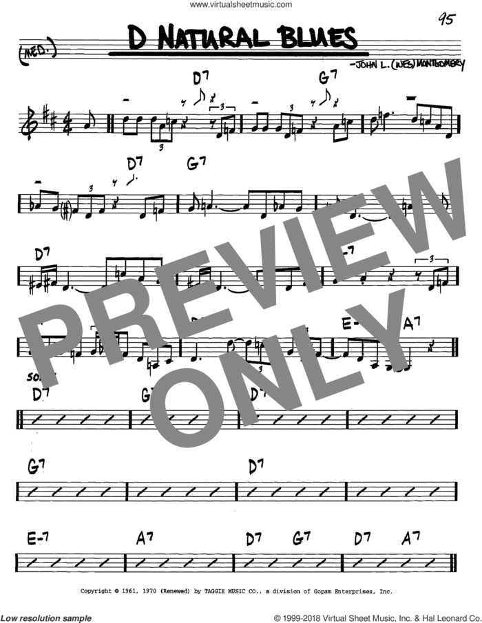 D Natural Blues sheet music for voice and other instruments (in C) by Wes Montgomery, intermediate skill level