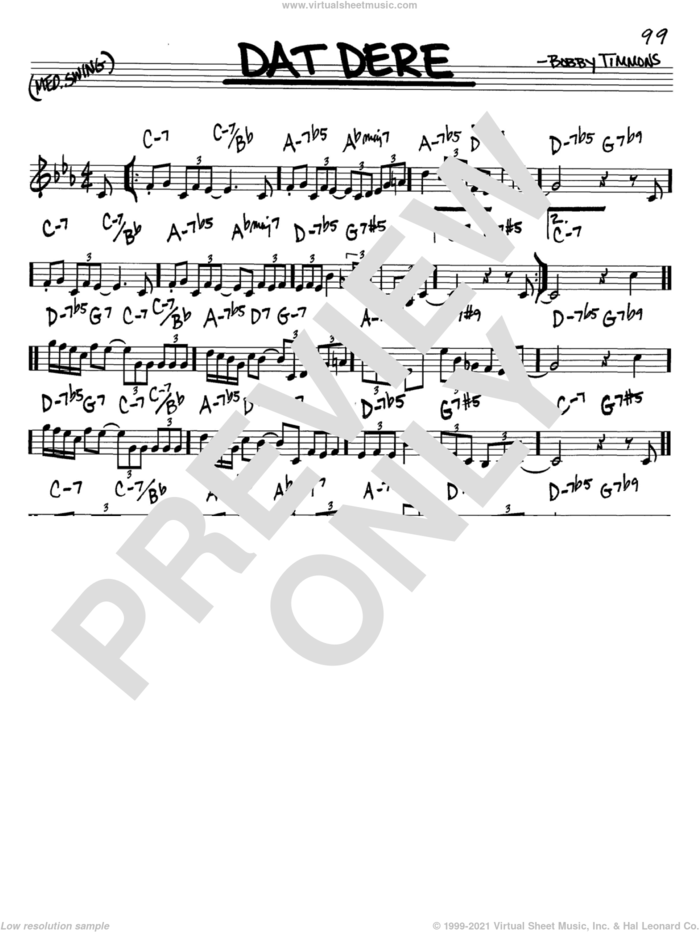 Dat Dere sheet music for voice and other instruments (in C) by Cannonball Adderley, Bobby Timmons and Oscar Brown, Jr., intermediate skill level
