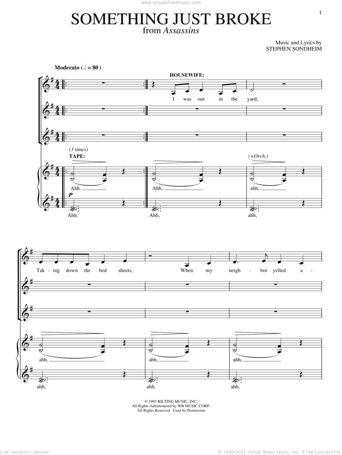 Something Just Broke sheet music for voice and piano by Stephen Sondheim and Assassins (Musical), intermediate skill level