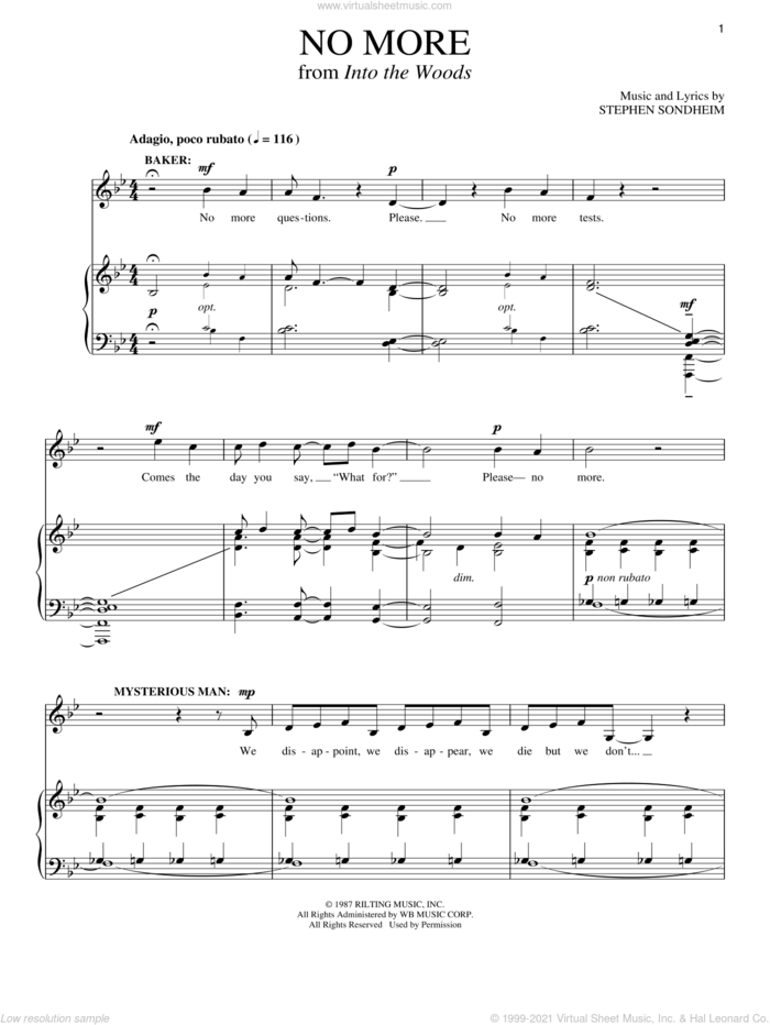 No More (from Into The Woods) sheet music for voice and piano by Stephen Sondheim and Into The Woods (Musical), intermediate skill level