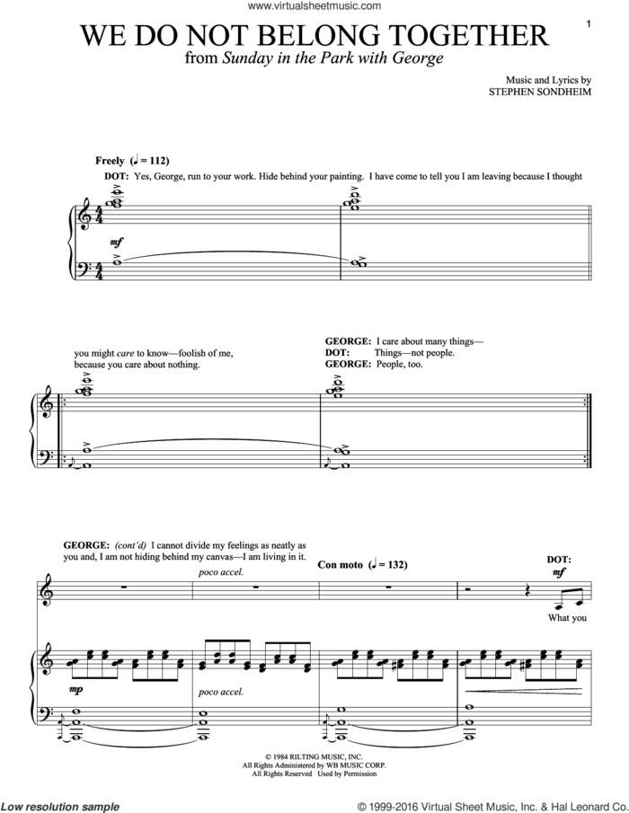 We Do Not Belong Together sheet music for voice and piano by Stephen Sondheim and Sunday In The Park With George (Musical), intermediate skill level