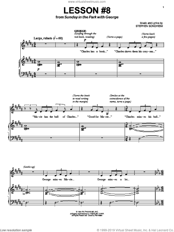 Lesson #8 sheet music for voice and piano by Stephen Sondheim and Sunday In The Park With George (Musical), intermediate skill level