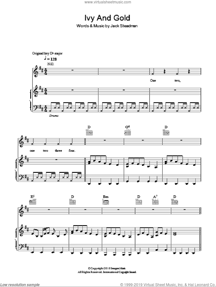 Ivy &Gold sheet music for voice, piano or guitar by Bombay Bicycle Club and Jack Steadman, intermediate skill level
