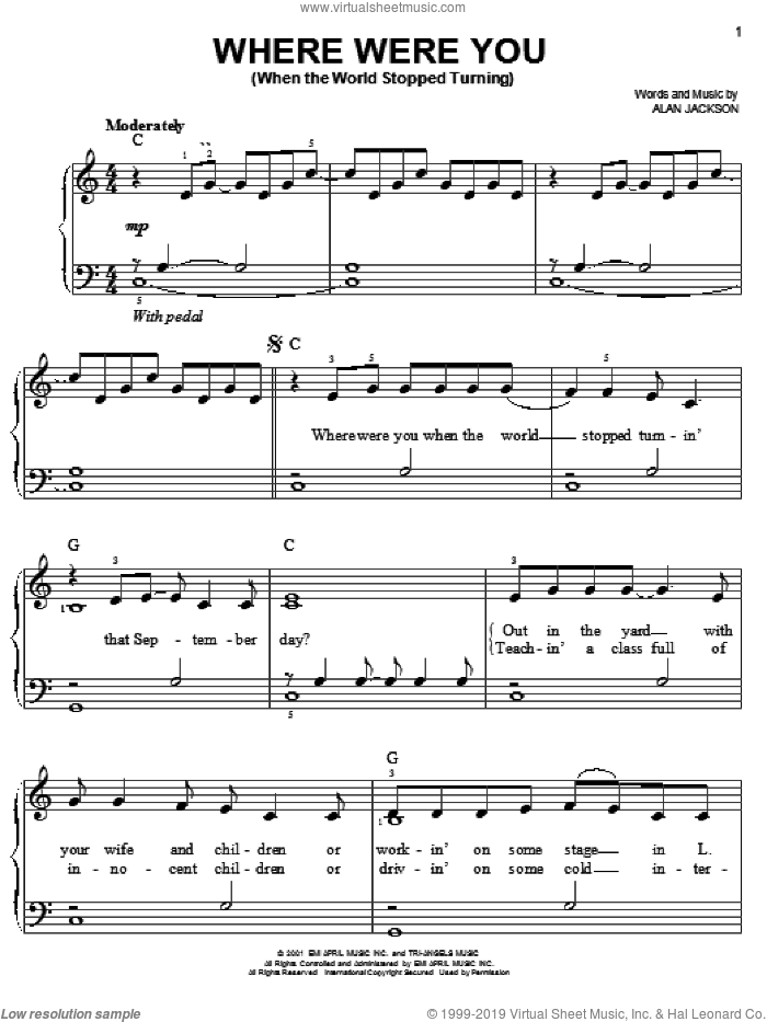 Where Were You (When The World Stopped Turning) sheet music for piano solo by Alan Jackson, easy skill level
