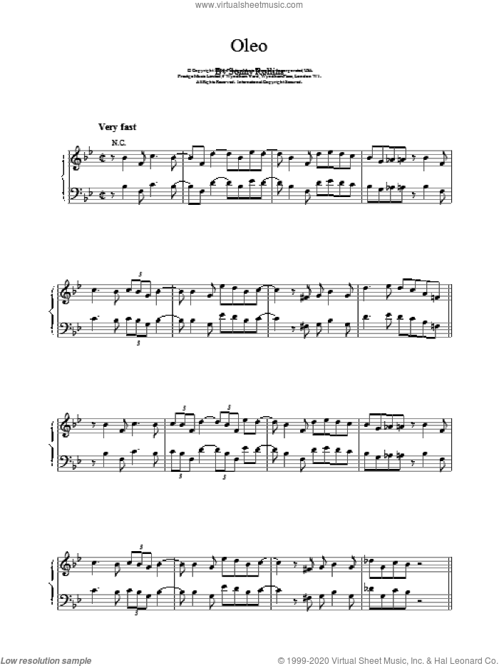 Oleo sheet music for piano solo by Bill Evans, intermediate skill level
