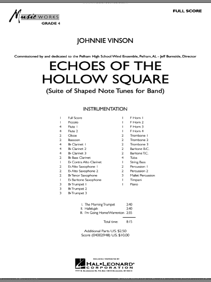 Echoes Of The Hollow Square (COMPLETE) sheet music for concert band by Johnnie Vinson, intermediate skill level