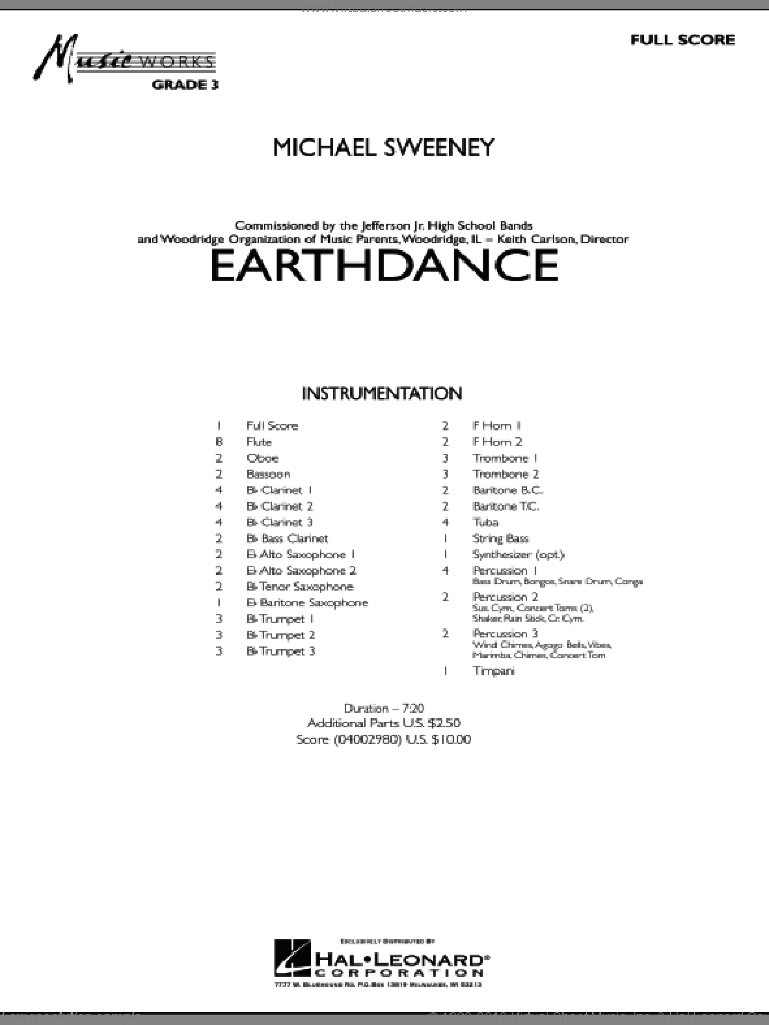 Earthdance (COMPLETE) sheet music for concert band by Michael Sweeney, intermediate skill level