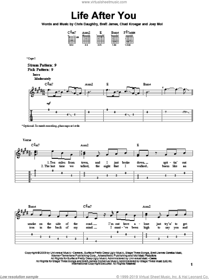 Life After You sheet music for guitar solo (easy tablature) by Daughtry, Brett James, Chad Kroeger, Chris Daughtry and Joey Moi, easy guitar (easy tablature)