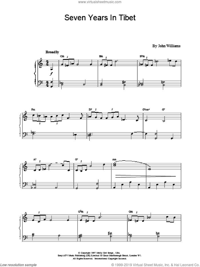 Seven Years in Tibet sheet music for piano solo by John Williams, intermediate skill level