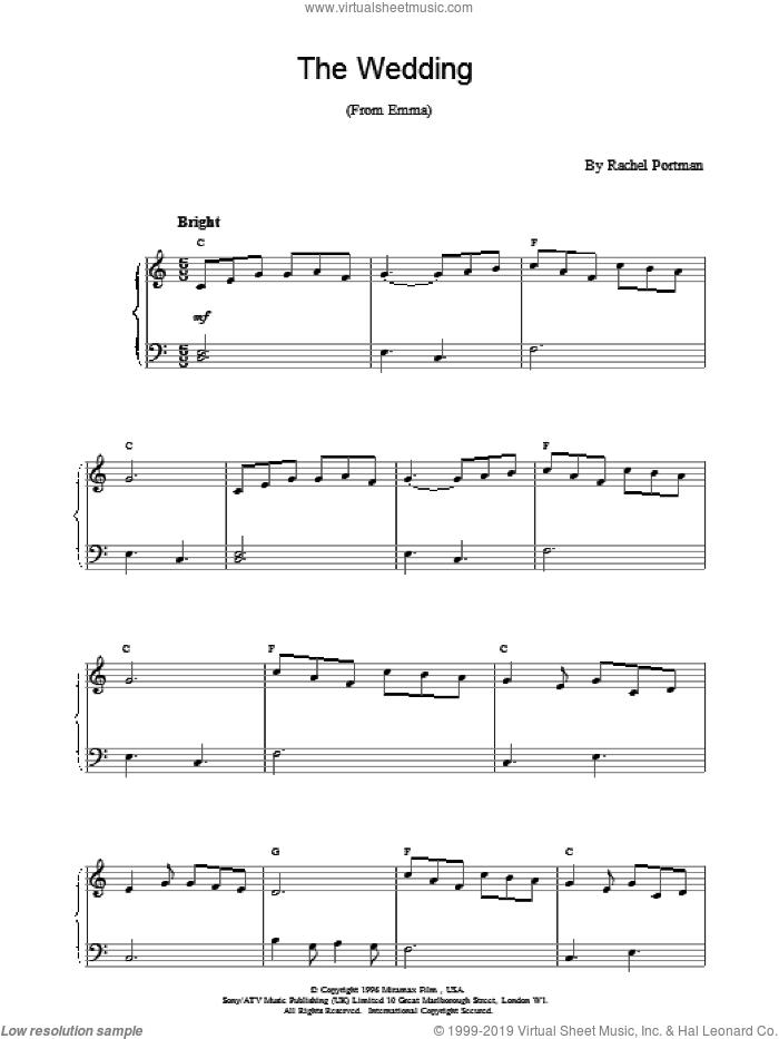 The Wedding sheet music for piano solo by Rachel Portman, intermediate skill level