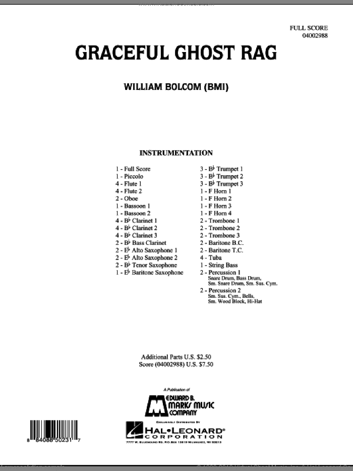 Graceful Ghost Rag (COMPLETE) sheet music for concert band by William Bolcom, classical score, intermediate skill level