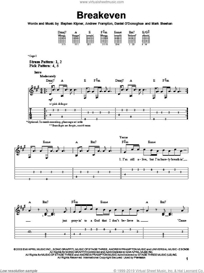 Breakeven sheet music for guitar solo (easy tablature) by The Script, Andrew Frampton, Mark Sheehan and Steve Kipner, easy guitar (easy tablature)