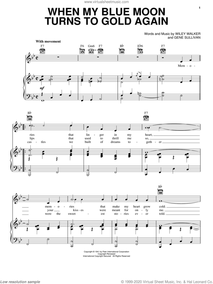 When My Blue Moon Turns To Gold Again sheet music for voice, piano or guitar by Elvis Presley, Eddy Arnold, Gene Sullivan and Wiley Walker, intermediate skill level