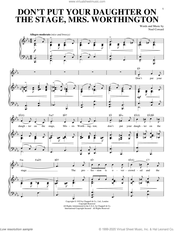 Don't Put Your Daughter On The Stage, Mrs. Worthington sheet music for voice and piano by Noel Coward, intermediate skill level