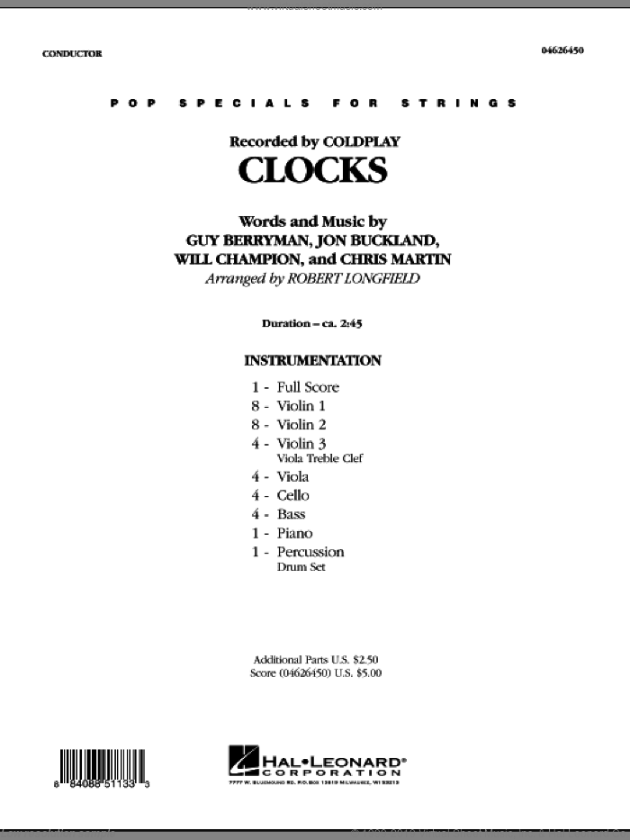 Clocks (COMPLETE) sheet music for orchestra by Chris Martin, Jon Buckland, Will Champion, Coldplay, Guy Berryman and Robert Longfield, intermediate skill level
