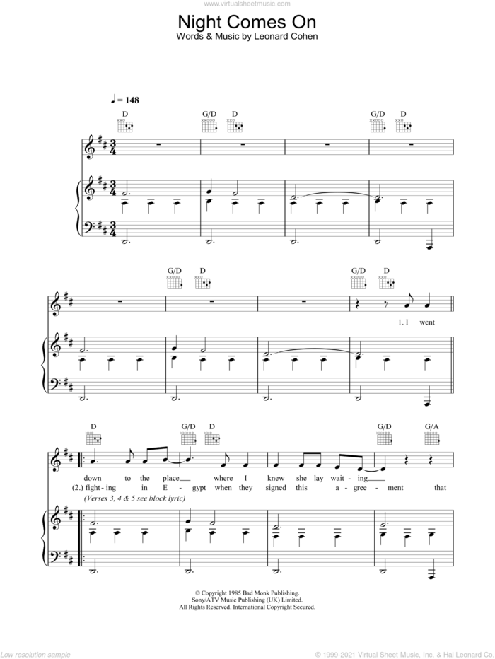 Night Comes On sheet music for voice, piano or guitar by Leonard Cohen, intermediate skill level
