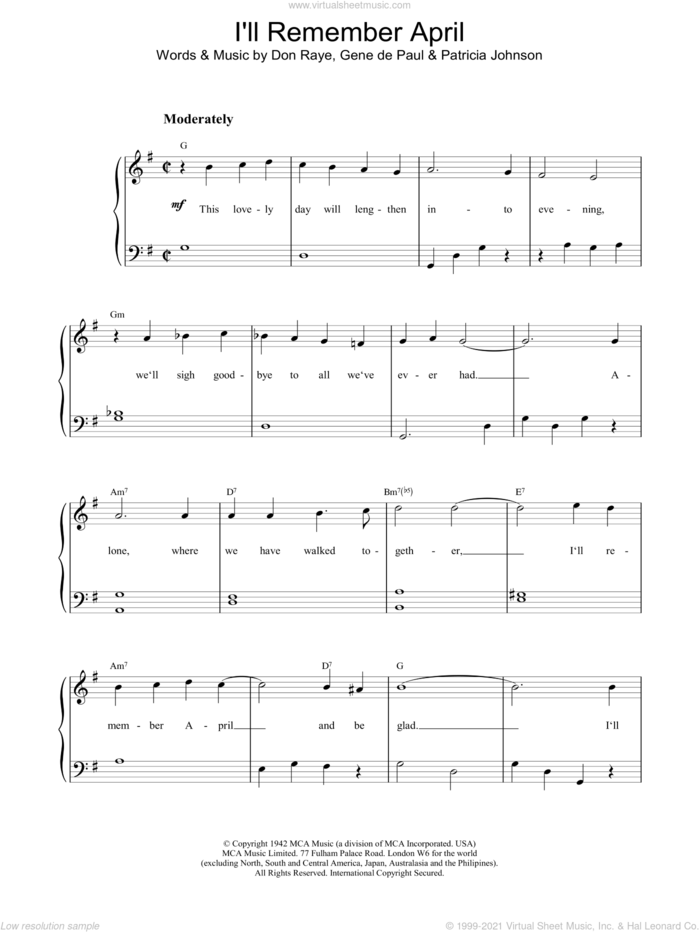 I'll Remember April sheet music for piano solo by Charlie Parker, Lee Konitz, DE PAUL, Don Raye and JOHNSON, intermediate skill level