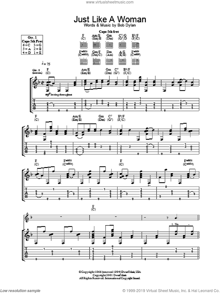 Just Like A Woman sheet music for guitar (tablature) by Bob Dylan, intermediate skill level