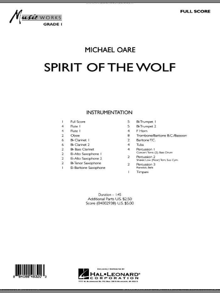 Spirit Of The Wolf (COMPLETE) sheet music for concert band by Michael Oare, intermediate skill level