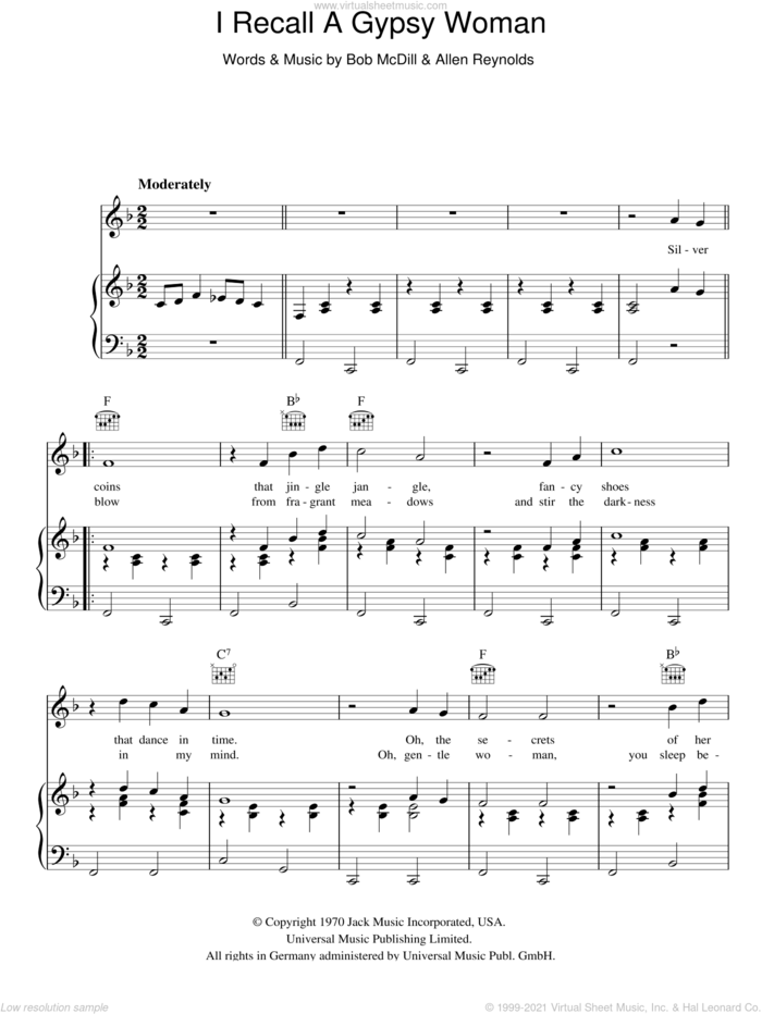 I Recall A Gypsy Woman sheet music for voice, piano or guitar by Don Williams, Allen Reynolds and Bob McDill, intermediate skill level