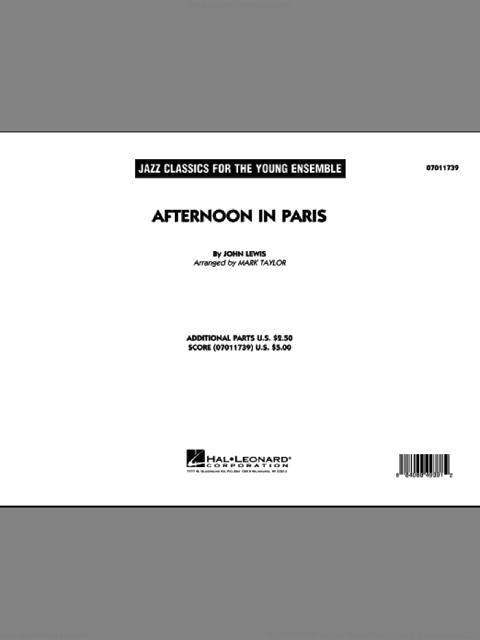 Afternoon In Paris (COMPLETE) sheet music for jazz band by John Lewis and Mark Taylor, intermediate skill level