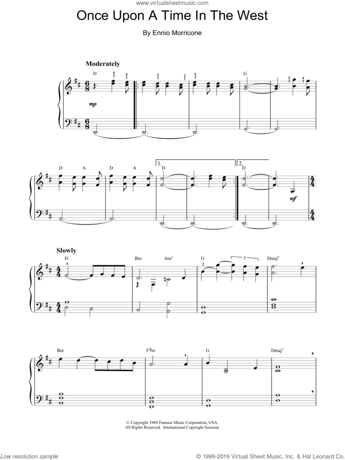 Once Upon A Time In The West sheet music for piano solo by Ennio Morricone, intermediate skill level