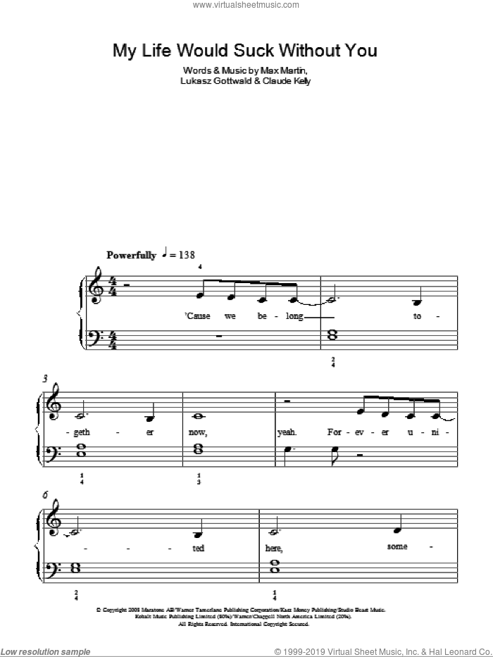 My Life Would Suck Without You sheet music for piano solo by Kelly Clarkson, Claude Kelly, Lukasz Gottwald and Max Martin, easy skill level