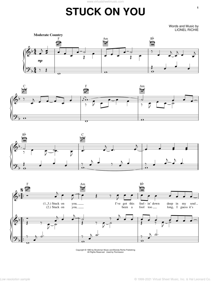 Stuck On You sheet music for voice, piano or guitar by Lionel Richie, wedding score, intermediate skill level