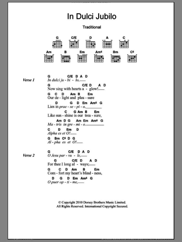 In Dulci Jubilo sheet music for guitar (chords), intermediate skill level