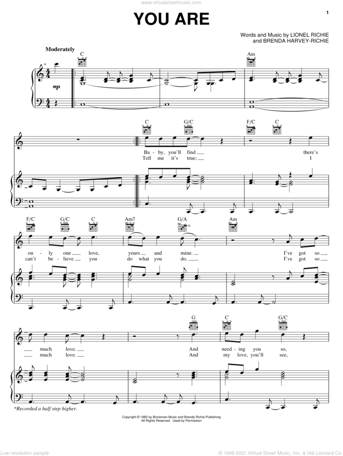 You Are sheet music for voice, piano or guitar by Lionel Richie and Brenda Harvey-Richie, wedding score, intermediate skill level