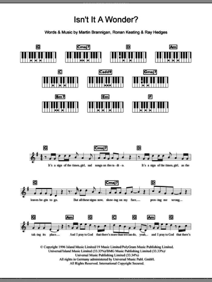 Isn't It A Wonder? sheet music for piano solo (chords, lyrics, melody) by Boyzone, Martin Brannigan, Ray Hedges and Ronan Keating, intermediate piano (chords, lyrics, melody)