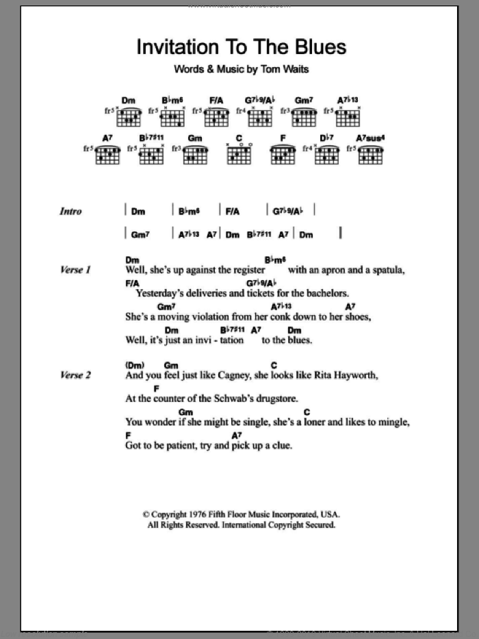 Invitation To The Blues sheet music for guitar (chords) by Tom Waits, intermediate skill level