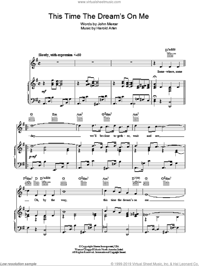 This Time The Dream's On Me sheet music for voice, piano or guitar by Tony Bennett, Harold Arlen and Johnny Mercer, intermediate skill level