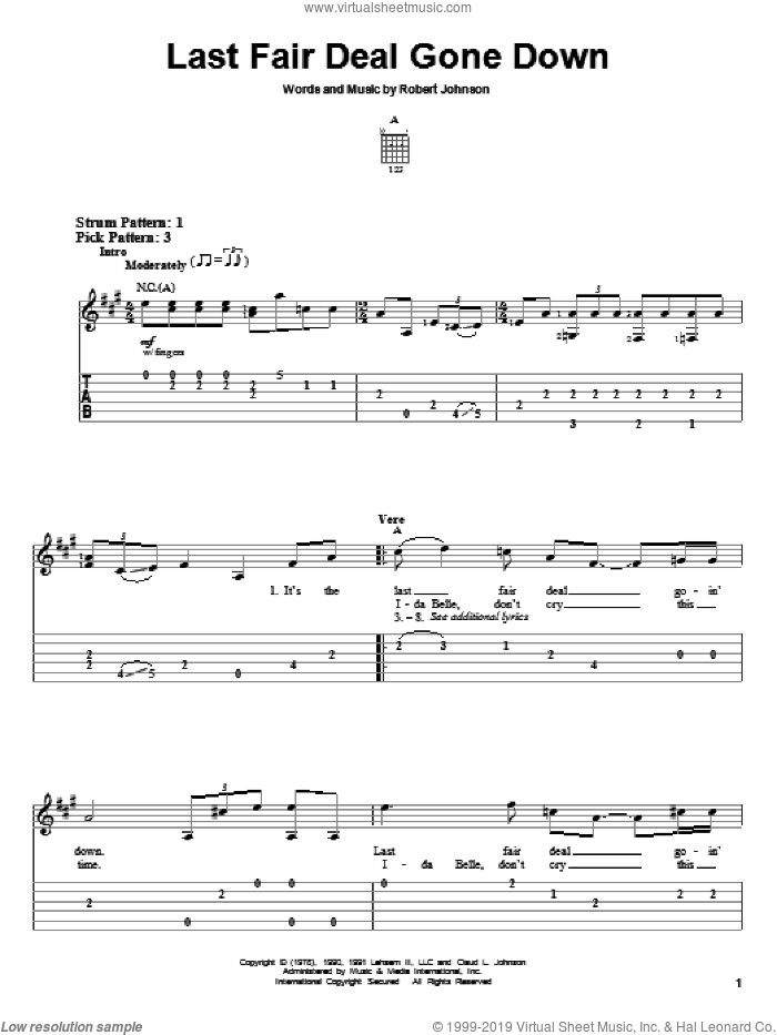 Last Fair Deal Gone Down sheet music for guitar solo (easy tablature) by Robert Johnson, easy guitar (easy tablature)