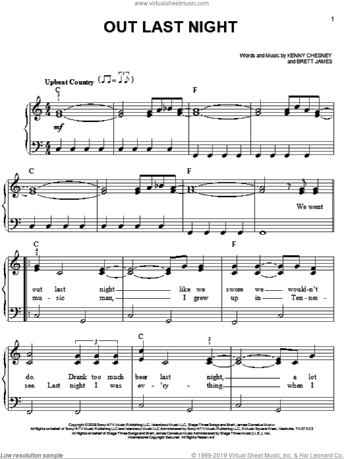 Out Last Night sheet music for piano solo by Kenny Chesney and Brett James, easy skill level