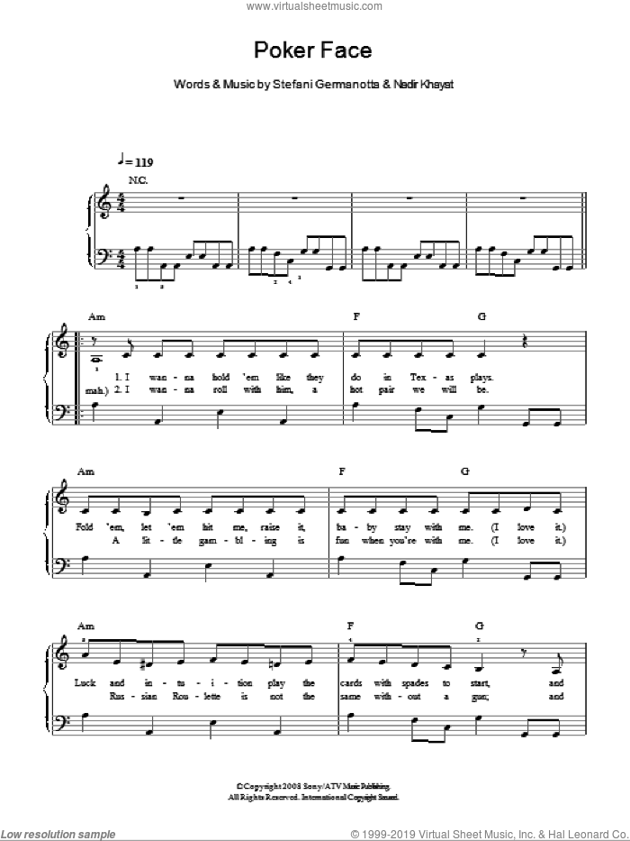 Poker Face sheet music for piano solo by Lady GaGa and Nadir Khayat, easy skill level