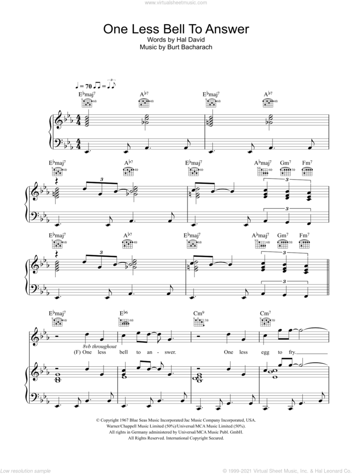 One Less Bell To Answer sheet music for voice, piano or guitar by Glee Cast, Bacharach & David, Miscellaneous, Burt Bacharach and Hal David, intermediate skill level