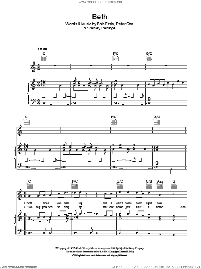 Beth sheet music for voice, piano or guitar by Glee Cast, KISS, Miscellaneous, Bob Ezrin, Peter Criss and Stan Penridge, intermediate skill level