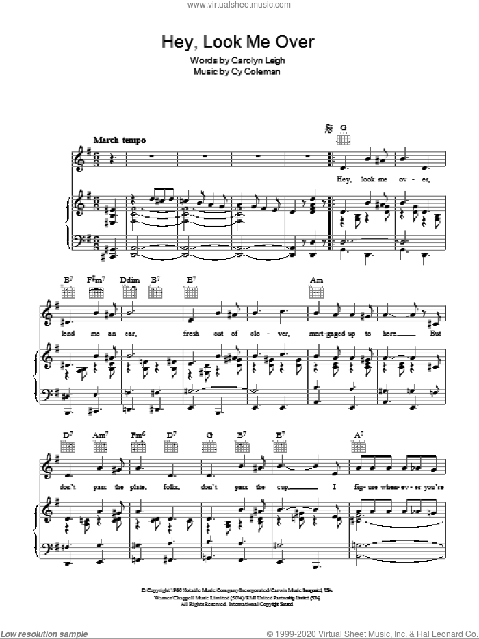 Hey, Look Me Over sheet music for voice, piano or guitar by Cy Coleman, Lucille Ball, Wildcat (Musical) and Carolyn Leigh, intermediate skill level