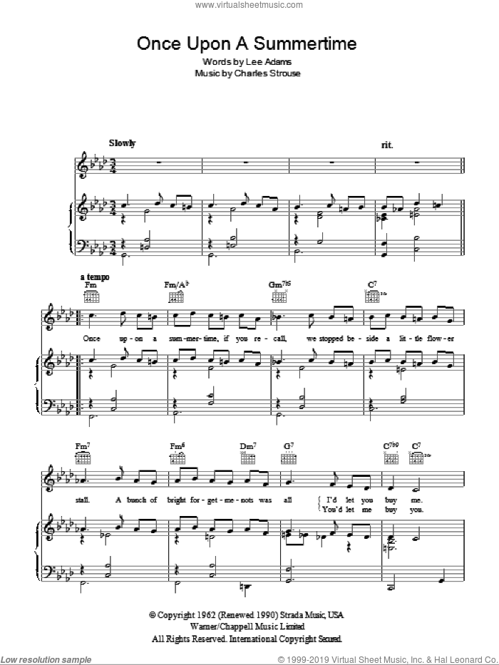 Once Upon A Summertime sheet music for voice, piano or guitar by Blossom Dearie, Charles Strouse and Lee Adams, intermediate skill level