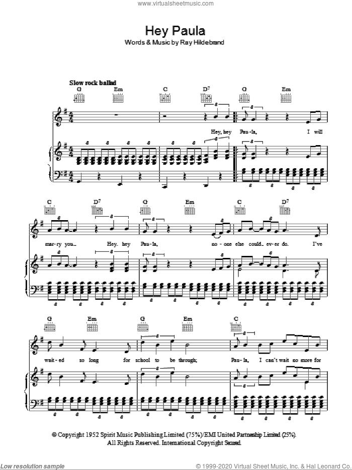 Hey Paula sheet music for voice, piano or guitar by Paul & Paula and Ray Hildebrand, intermediate skill level