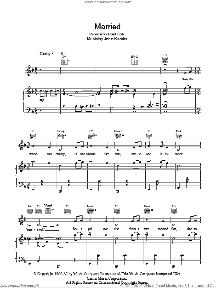 Married (Heiraten) sheet music for voice, piano or guitar by Kander & Ebb, Cabaret (Musical), Fred Ebb and John Kander, intermediate skill level